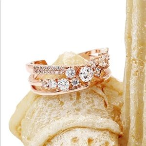 Ocean Fashion Jewelry - Fashion rose gold row sparkling crystal ring